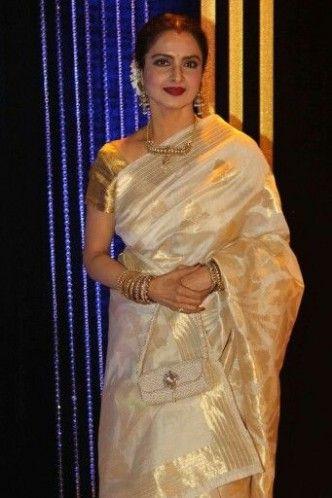 Rekha in half white silk saree with gold zari