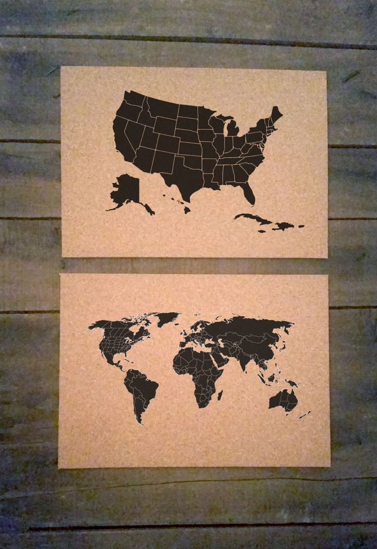 OVERSTOCK SALE 2 14x10 Maps Medium Cork Push Pin Travel Map – Travel Maps For Sale