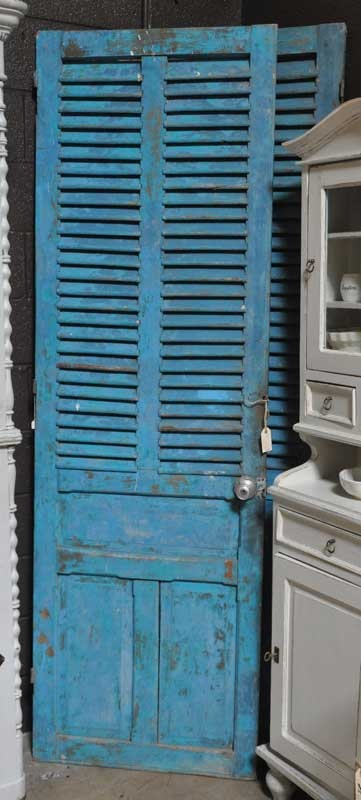 """Tall, Turquoise, FrenchBlue louvered doors. 27""""W x 86"""" H."""