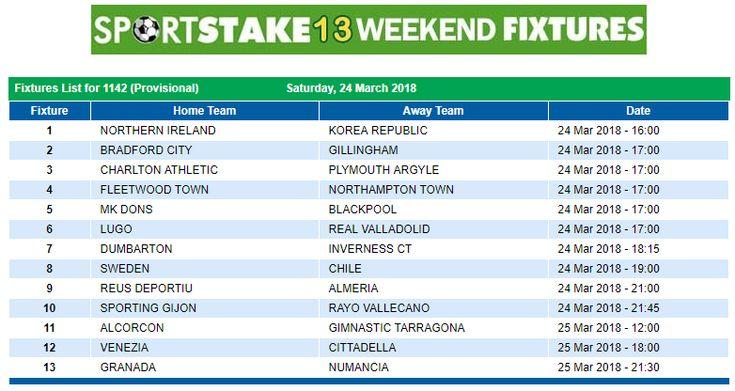 #SportStake13 Weekend Fixtures - 24 March 2018  https://www.playcasino.co.za/sportstake-weekend-fixtures.html