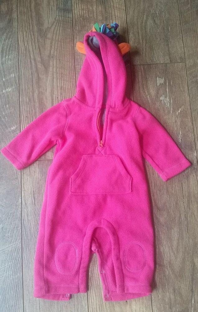 ab3c98d91 Baby GAP Fleece Snowsuit Winter Bunting Hooded 3-6 Mos Hot Pink ...