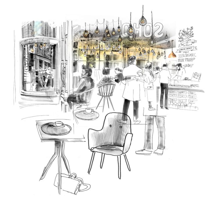 Cafe culture illustration of soho coffee house