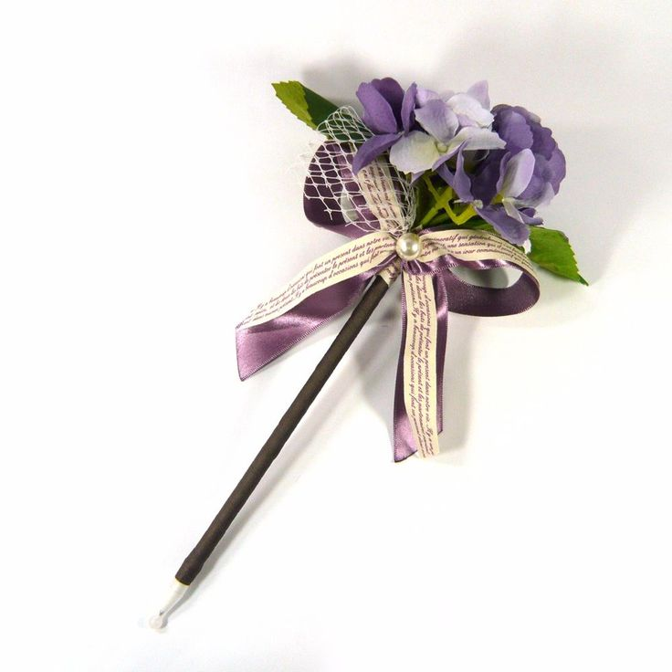 Violet Lavender Flower Bouquet Artificial Ribbon Bow Black Ink Ballpoint Pen New…