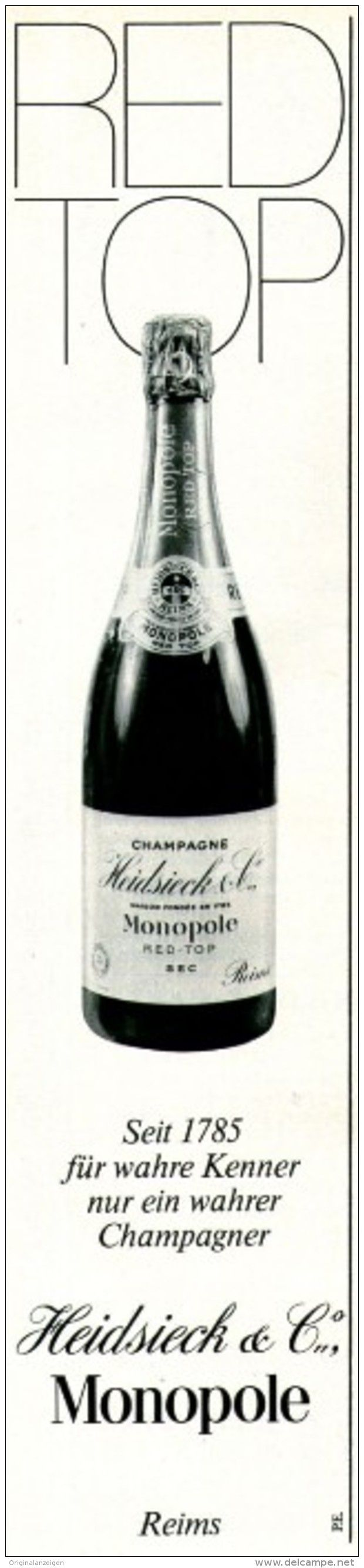 Original-Werbung/ Anzeige 1969 - HEIDSIECK MONOPOLE CHAMPAGNER - ca. 55 x 240 mm