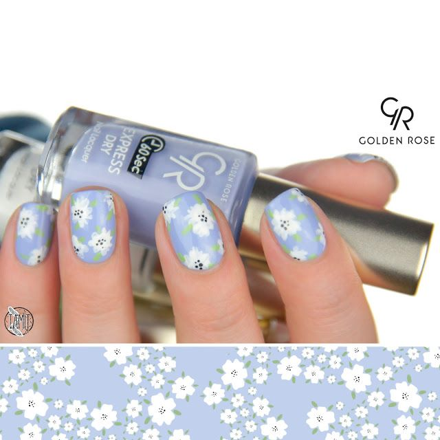 Forget-me-not flower nails: tutorial. | Golden Rose Express Dry.
