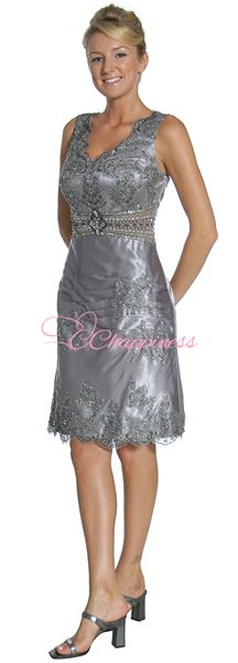Free Shipping Silver Mother of the Bride Dress Short Knee Length summer dresses $59.99