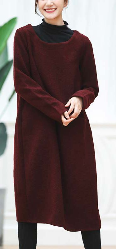 9cb4aeaad6 warm burgundy knit dresses oversized O neck sweater casual baggy ...