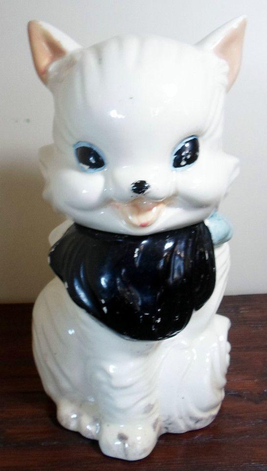 Vintage Оригинальный американский Bisque Пушистый кот Китти Cookie Jar 1940-Помечено Подписано | Больше, чем Vintage