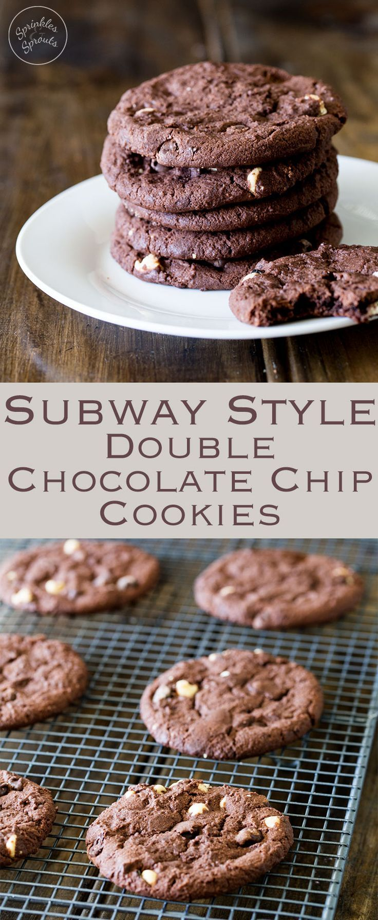 These subway style chocolate chip cookies are super chocolaty, super rich, super delicious and just super wonderful. They are beautifully soft, with a slight crisp edge, gooey in the middle and total worth every calorie!!! Recipe by Sprinkles and Sprouts | Delicious Food for Easy Entertaining