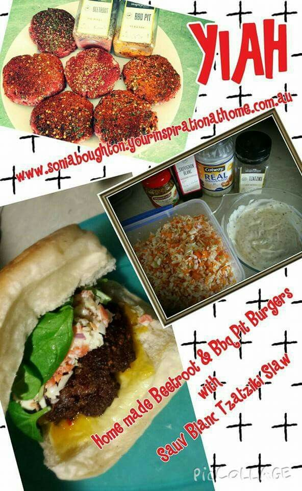 Home made Yiah Beetroot & Bbq Pit Burgers patties: 500 gm mince beef 1 tbspn YIAH Beetroot Dip 1 tbspn YIAH BBQ pit dukkah 2 eggs 1/2 cup bread crumb 1/2 onion, diced 1 small tomato, deseeded 1 clove garlic, crushed Mix together & form patties. Add little extra dukkah/dip mix on a plate & roll the patties in to coat. Leave in fridge for flavors to combine. Overnight is best. . Cook on BBq. Sauv Blanc Tzatziki Slaw 1 red onion 1/4 cabbage 2 carrots Pop all in Ninja set to pulse 5 times. Empty…