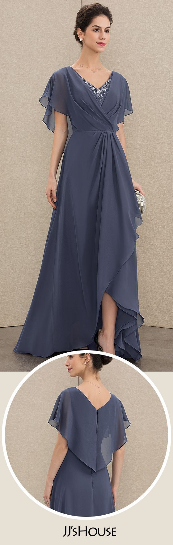JJsHouse A-Line V-neck Asymmetrical Chiffon Mother of the Bride Dress With Beading Sequins