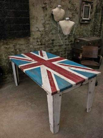Reclaimed Weathered Wood Inlay Table.