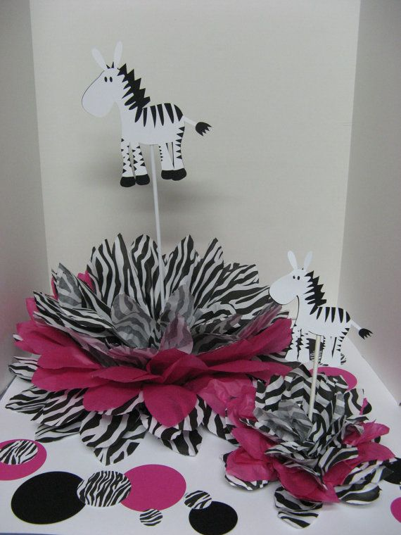 RESERVED for Charlene Zebra centerpieces by missdaisyw on Etsy, $44.00