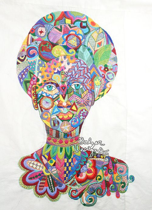 Vibrant embroidery from Julie Fei-Fan Balzer.