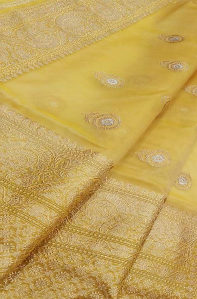 Orange Exclusive Designer Banarasi Silk Khaddi Chiffon Georgette party wedding handloom saree zari weaving sari Durga puja Running Blouse