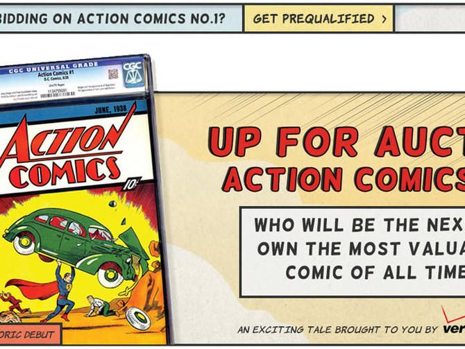 """The bidding for Action Comics No. 1 -- the """"most sought after comic book in the world"""" -- is at $1,600,100 but promises to soar higher by the time the auction ends August 24."""