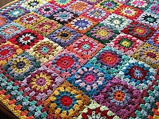 Flower GRANNY SQUARES Afghan Blanket Floral by Thesunroomuk