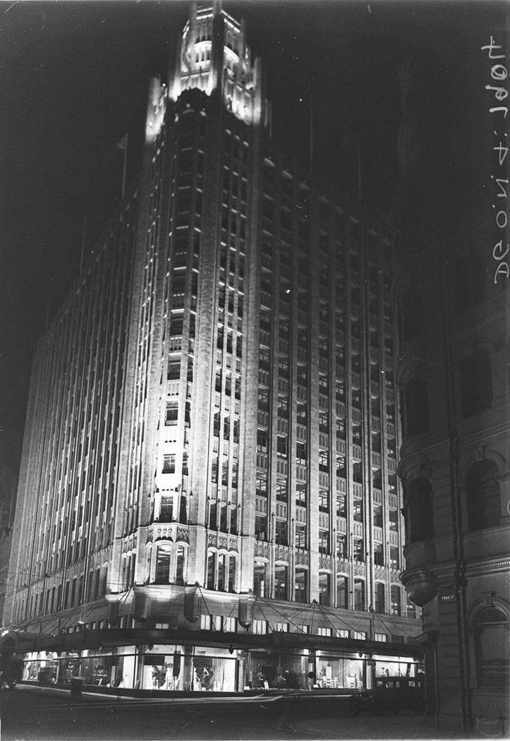 Photograph of the illuminated Grace Building, corner York and King Streets in Sydney by Sam Hood in the 1930s. From the Mitchell Library, State Library of New South Wales : http://www.acmssearch.sl.nsw.gov.au/search/itemDetailPaged.cgi?itemID=8817