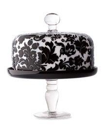 Covered Cake Plate: Damasks Kitchens, Black And White, Cakes Plates, Black & White Plates, Cake Stands, Black White, Black Damasks Cakes, Cakes Stands, Cakes Pedestal