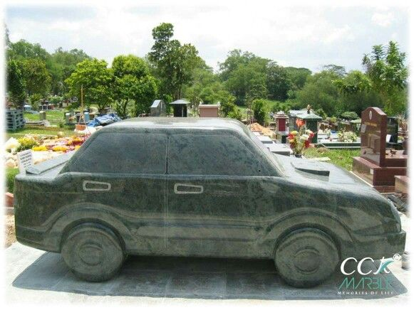 The first car tombstone design at Singapore Hindu cemetery.