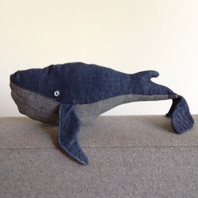 Say hello to my new friend Moby Dick. He was supposed to be a present but I think I have to keep him. Thank you #Valaanvillapaita for instructions. #whale #whalenotafish #mobydick #sewing #handmade #ilovefabrics #ilovesewing #bluejeans
