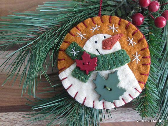 Free Shipping Wool Felt Snowman Ornament Forest Green Wool