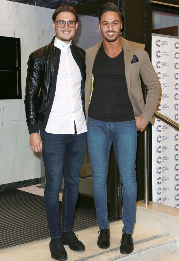 Mario Falcone and Charlie Sims arriving for the James Jog on 2 Cancer Research dinner at the Kensington Roof Gardens, London, 9 April 2014