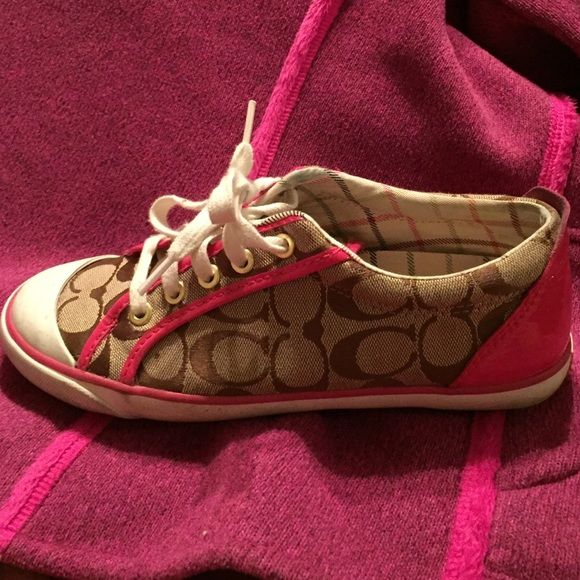 Authentic Coach Tennis Shoes Used coach shoes. Worn multiple times, still in good condition. Coach Shoes Sneakers