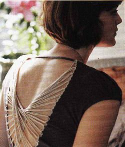 A close fitting T-shirt is altered by removing a portion of its back and edged with rickrack. Yarn is then crisscrossed into a cool pattern.
