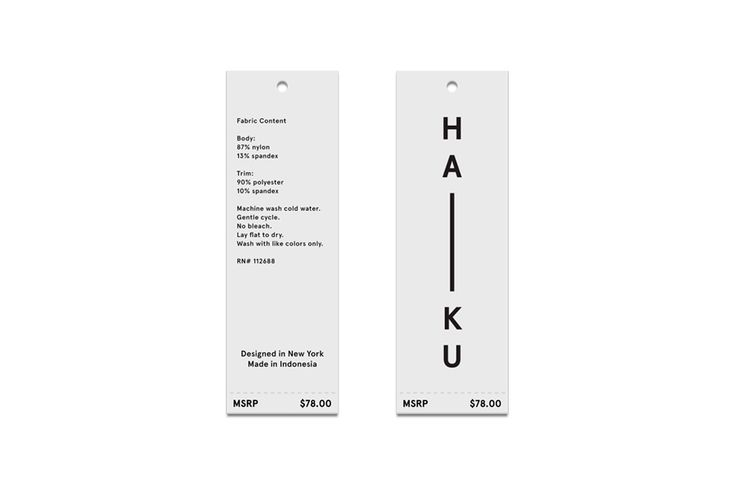 haiku clothing tags.