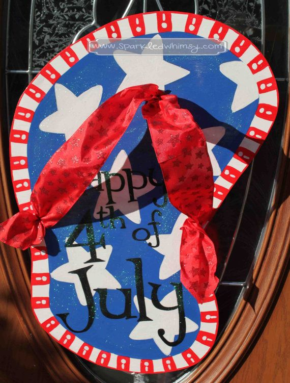 Fouth of July Sparkly Flip Flop Door Hanger Sign on Etsy, $40.00
