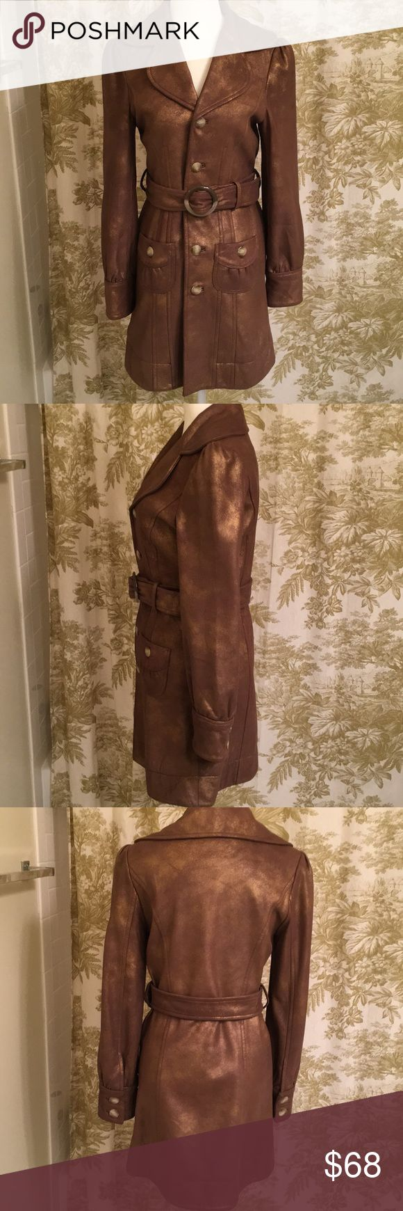 Leather trench size small Great condition and simply gorgeous!  Size small brown-gold leather trench by Christopher Blue for Neiman Marcus.  All leather outer. Fully lined. No stains or scratches. No trades. Neiman Marcus Jackets & Coats Trench Coats