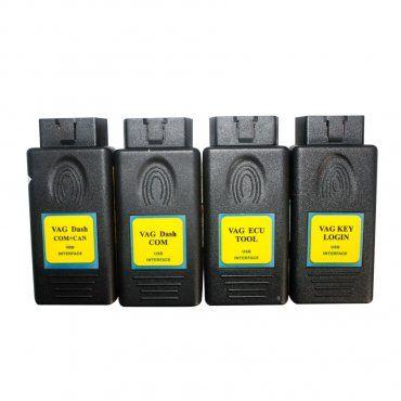4-IN-1 VAG TOOL KIT include four tools: VAG DASH COM +CAN, VAGdashCOM, VAG ECU TOOL, VAG KEY LOGIN.