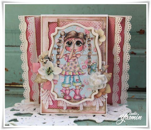 Studio Yasmin - Card made with the flying unicorn Small Art, Big Passion Kit - February. Sherri Baldy Papers.