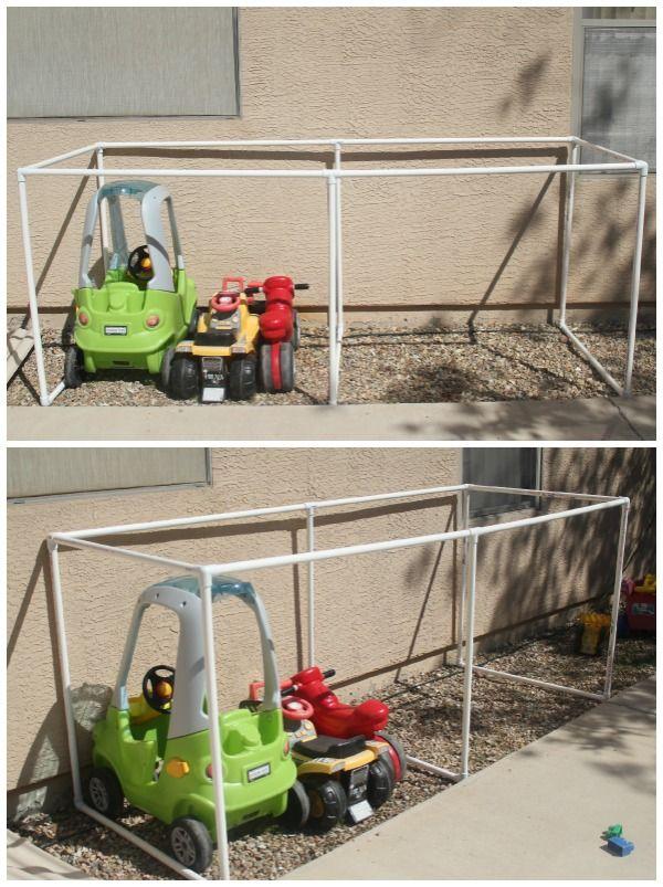 Covered Kiddie Car Parking Garage Outdoor Toy Organization Mom Endeavors Outdoor Toy Storage Toy Storage Organization Toy Organization