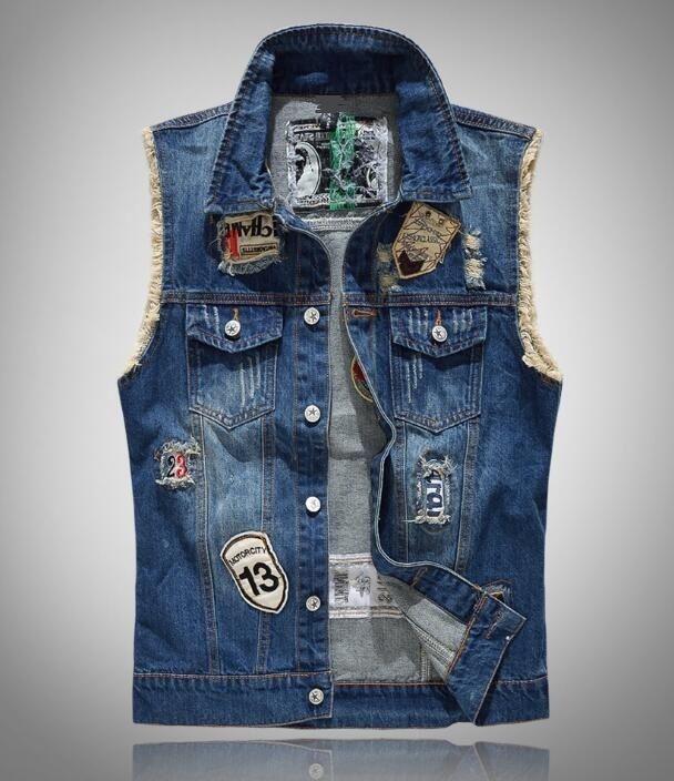 Fashion Frayed Personalized Cardigan Denim Vest Waistcoat Jean Jacket Outerwear