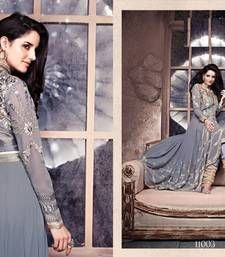 Buy silver georgette embroidered semi stitiched salwar with dupatta party-wear-salwar-kameez online