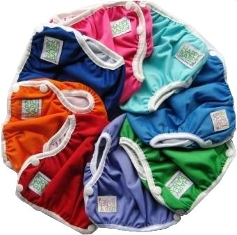 Reusable Swim Nappies eliminates the need for the ongoing purchase of expensive disposable swim nappies.The Swim Nappy is made from a waterproof PUL cover, polyester inner lining and elasticised legs and waist. They are fully adjustable with 3 snap settings on each side of the swim nappy all allowing for a comfy and gentle fit. Just use the swim nappy Sizes: Small: 4.5-8kg Medium: 8-14kg Large: 14-18kg