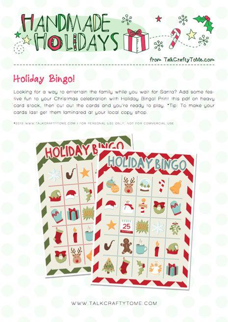 Holiday Bingo! Free Printable from www.TalkCraftyToMe.com