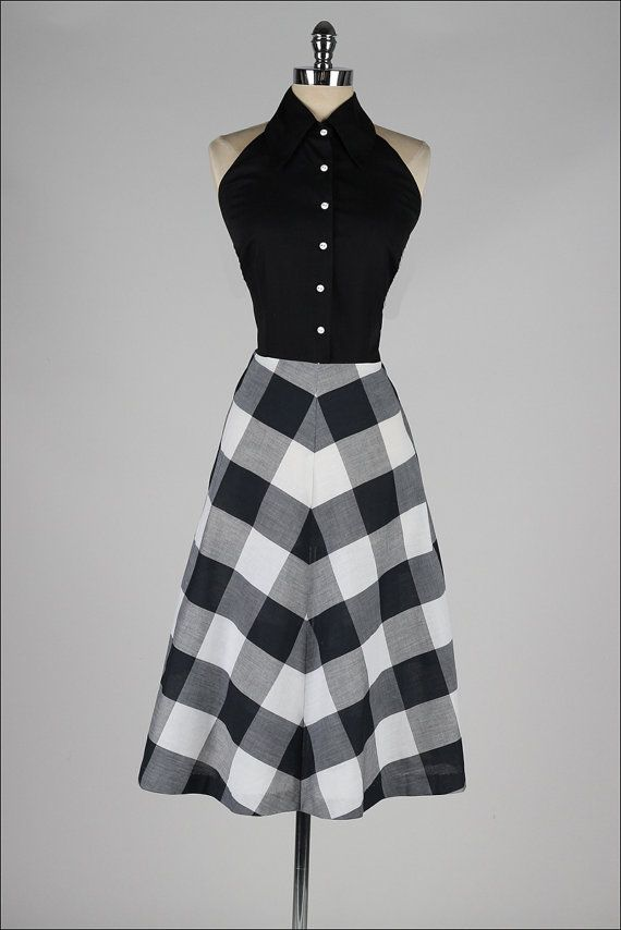 vintage 1950s dress . black plaid cotton by millstreetvintage as you can see i love old fashion dresses