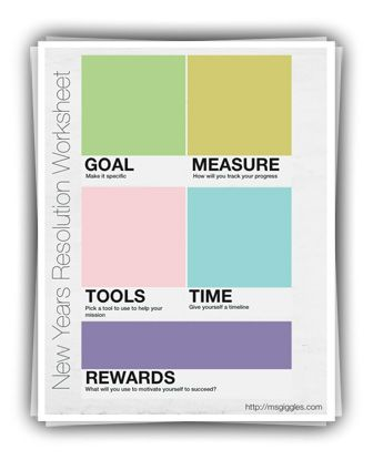New Years Resolution Worksheet & Guide. Designed by yours truly!