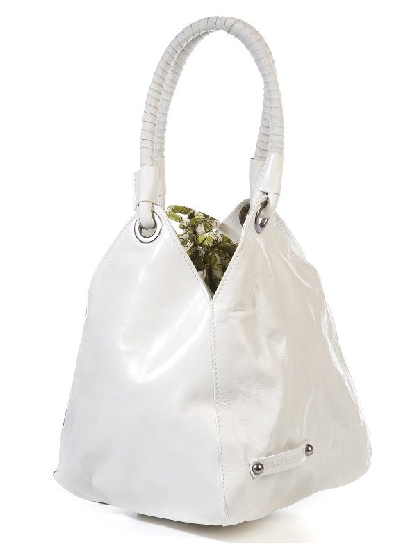 White Leather Bag by Manas   50% OFF