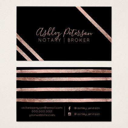 Rose gold geometric stripes notary chic typography business card - chic design idea diy elegant beautiful stylish modern exclusive trendy