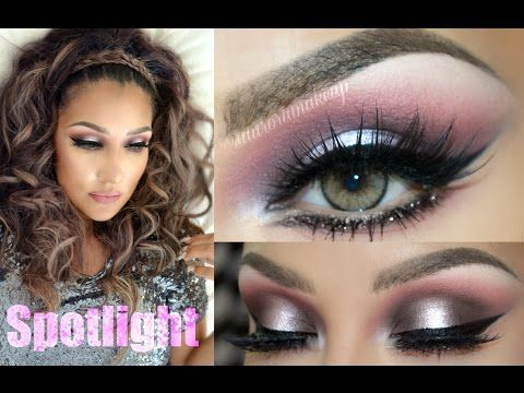 Rosa y Gris GLAM (SPOTLIGHT in PINK & GRAY makeup) - YouTube