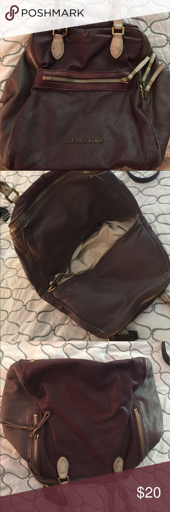 Purple Liebeskind handbag! $20 Purple Liebeskind handbag for sale for $20. Used. Small tear on bottom corner. Liebeskind Bags Shoulder Bags