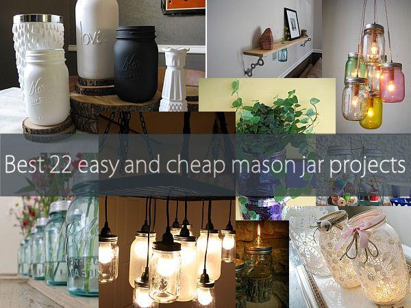 Best 22 diy easy and cheap mason jar projects: Diy Ideas, Crafts Ideas, Jars Crafts, Diy Crafts, 22 Diy, Mason Jars Projects, Diy Easy, Diy Projects, Cheap Mason