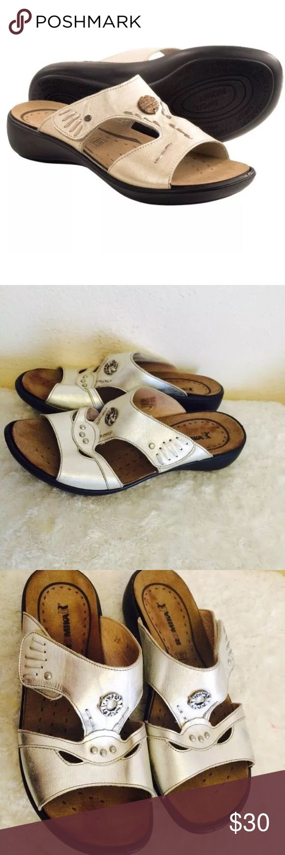 Romika Ibiza leather silver sandals size 13 Romika Ibiza sandals Size 13 Silver leather with Velcro closure  In great condition!! Romika Shoes Sandals