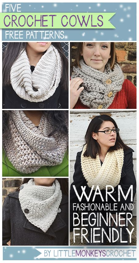 Click here for 5 Free Cowl Crochet Patterns | by Little Monkeys Crochet