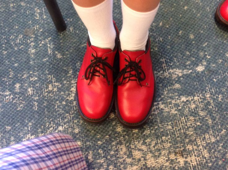Our red shoes are bright and beautiful