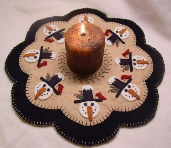 Winter Friends Candle Mat/Penny Rug